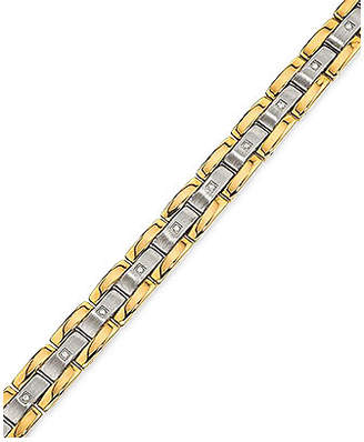 Macy's Men's Diamond (1/4 ct.t.w.) Bracelet in Stainless Steel and Yellow IP