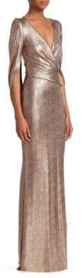 Talbot Runhof Women's Metallic Draped Scuba Gown - Blush - Size 14