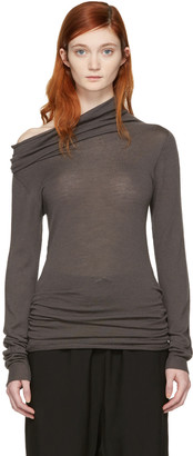 Rick Owens Grey Dropped Neck Pullover $550 thestylecure.com