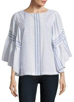 Striped Wide-Sleeve Blouse