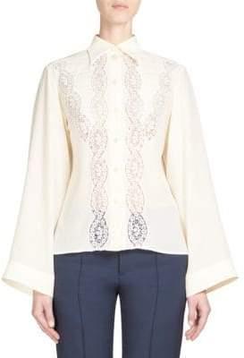 Chloé Lace Button-Front Blouse