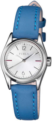 Furla Eva 25mm Round Watch with Blue Leather Strap