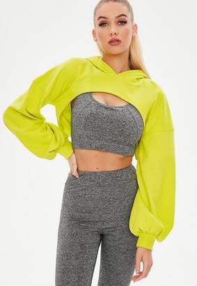 Missguided Lime Cut Out Front Hooded Sweatshirt