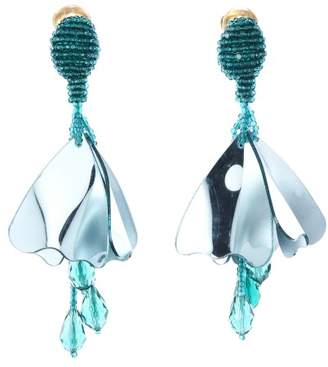 Oscar de la Renta Aqua Metallic Mini Impatiens Flower Drop Earrings