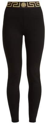 Versace Logo Print Performance Leggings - Womens - Black