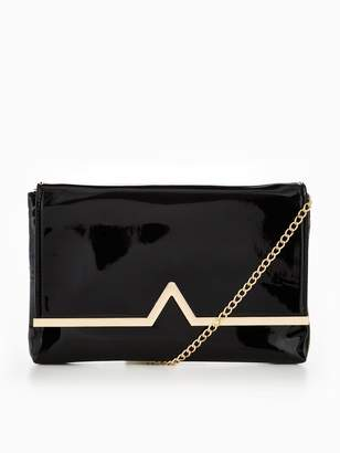 Very V Bar Patent Clutch Bag