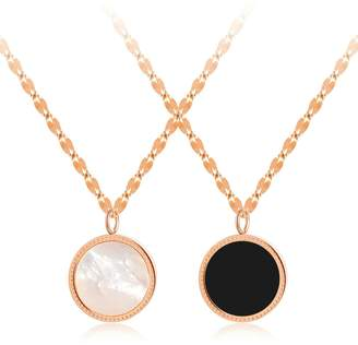 Camilla And Marc Aooaz Stainless Steel Necklace For Women Black And White Round Black White (Middle) Chain Length 42 + 5.5 Cm Novelty Jewelry Gift