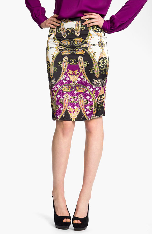 Vince Camuto Ornate Paisley Pencil Skirt