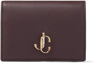 Jimmy Choo MYAH Bordeaux Calf Leather Bi-Fold Wallet with JC logo