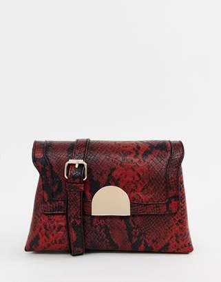 Oasis crossbody bag in red snake