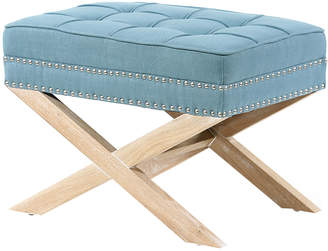 Hyde Park Home Teal & Oak Brooke Ottoman Stool