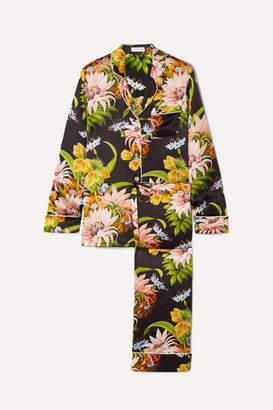 Olivia von Halle Lila Floral-print Silk-satin Pajama Set - Black