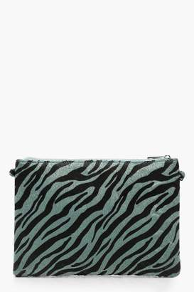 boohoo Faux Zebra Print Clutch With Chain
