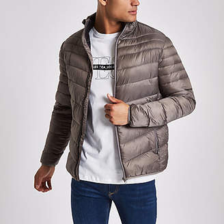 River Island Grey zip front funnel neck puffer jacket