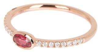 Bony Levy 18K Rose Gold Ruby & Pave Diamond Detail Ring - 0.35 ctw