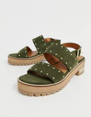 7a7d3faf0fbbd Asos Design DESIGN Fenrick premium chunky leather studded flat sandals
