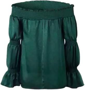 Goodnight Macaroon 'Margot' Green Velvet Off The Shoulder Top