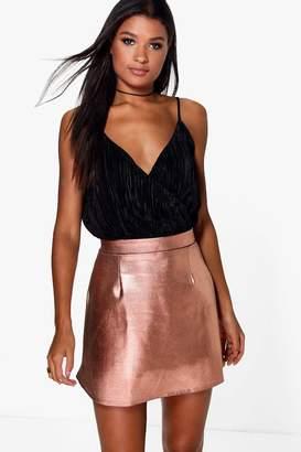 boohoo Amala Metallic A Line Mini Skirt $16 thestylecure.com