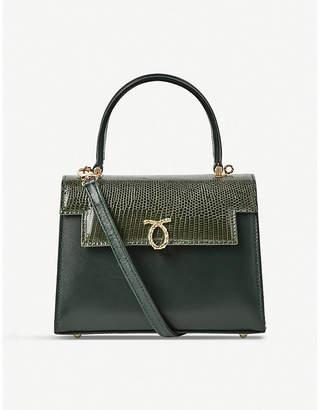 Launer Dark Green Judi Lizard Leather Tote Bag
