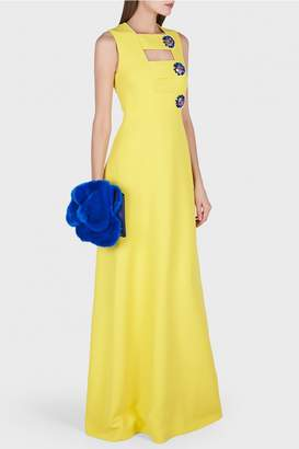 DELPOZO Contrasting Brooch Button Tab Maxi Dress