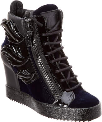 Giuseppe Zanotti Wing Patent & Velvet High-Top Wedge Sneaker