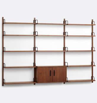 Rejuvenation Hart Modular Walnut Triple Shelving Unit with Cabinet