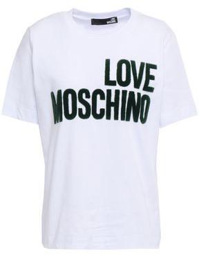 Love Moschino Flocked Cotton-jersey T-shirt