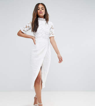 True Decadence Tall Premium Lace Top Wrap Front Midi Dress