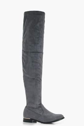 boohoo Stretch Thigh High Flat Boots
