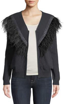Neiman Marcus Feather-Trim Bomber Sweater