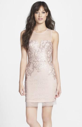 BCBGMAXAZRIA Women's Embellished Lace Sheath Dress