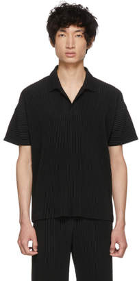 Issey Miyake Homme Plisse Black Pleated Polo