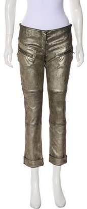 Jerome Dreyfuss Metallic Low-Rise Straight Pants w/ Tags