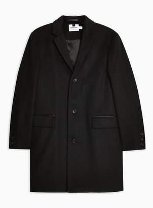 Topman Mens Black Overcoat With Wool