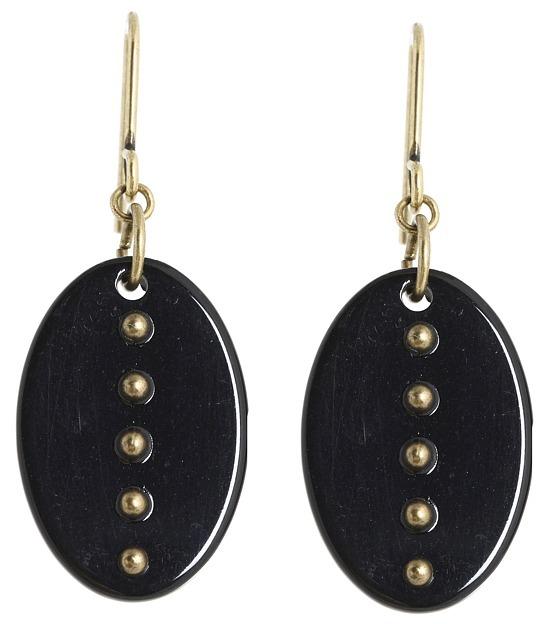 Lauren Ralph Lauren Black Metal Disk Drop Earrings (Bronze/Multi) - Jewelry