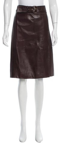 CelineCéline Leather Knee-Length Skirt