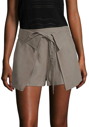 Derek Lam 10 Crosby Twill Wrap-Front Short