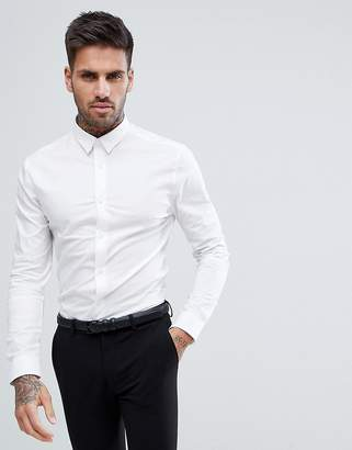 New Look Muscle Fit Shirt In White