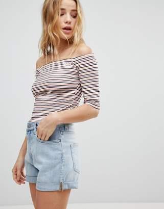 Glamorous Bardot Top In Multi Stripe