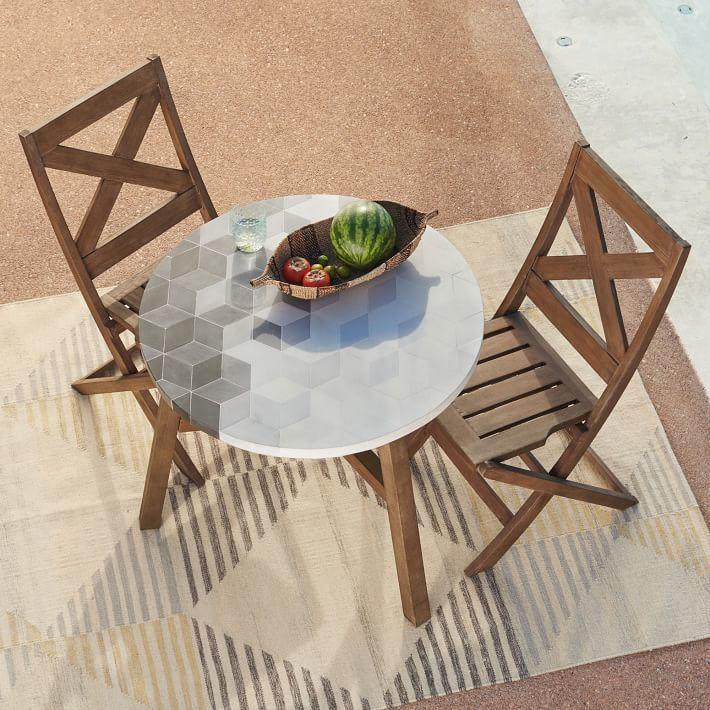 Mosaic Tiled Bistro Table - Isometric Concrete