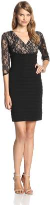 Adrianna Papell Women's 3/4 Sleeve Lace Banded Dress