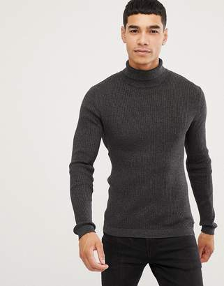 Esprit rib knit muscle fit roll neck jumper in black