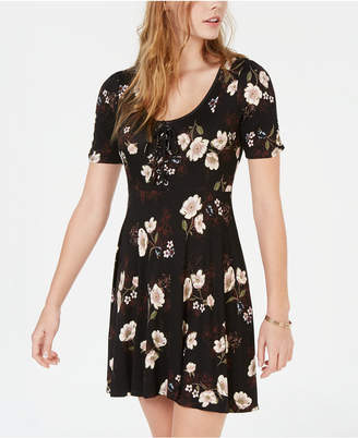 American Rag Juniors' Printed Lace-Up Fit & Flare Dress