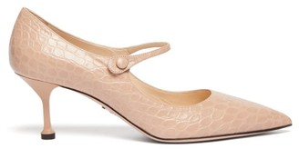 Prada Mary Jane Crocodile Effect Leather Pumps - Womens - Nude
