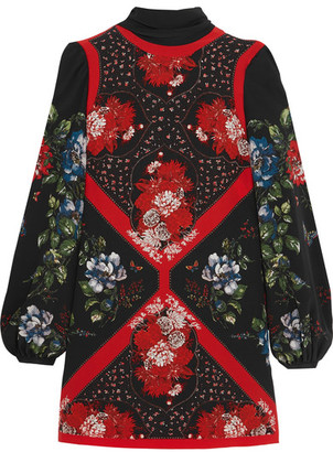 Alexander McQueen - Printed Silk Crepe De Chine Mini Dress - Black