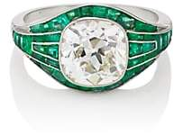 Stephanie Windsor Antiques Women's White-Diamond & Emerald Art Deco Ring