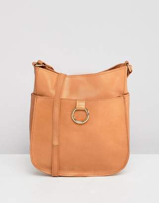Asos DESIGN Leather Vintage Cross Body Bag With Ring Detail