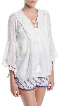 Talitha Collection Elbow Frill Sleeve V-Neck Embroidered Peasant Blouse