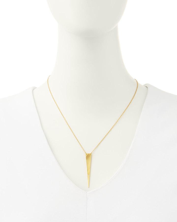 Jennifer Zeuner Jewelry Ofira Solid-Triangle Necklace with Single Diamond