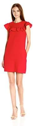 Trina Turk Women's Classic Crepe Ruffle Neck Dress